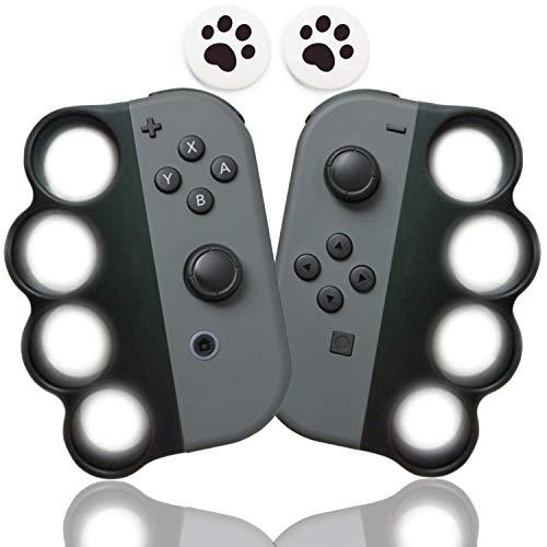 Fit Boxing (フィットボクシング) Fit Boxing 2 対応 コントローラー グリップ ハンドル 【令和最新版】For Nintendo Switch Joy-Con用 コントローラーグリップ Joy-Conハンドル 大人と子供向け 任天堂 ジョイコン ボクシングゲーム用グリップ 2個 セット 親指キャップ 2個入り (猫の爪) (黒&黒)