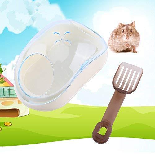 HEEPDD Hamster Sand Bad, Kunststoff Maus Form Sandbad Container Kleines Haustier Badewanne Sauna WC Waschraum Box mit Schaufel für Hamster Meerschweinchen Frettchen Gerbil Chinchilla (Blu)