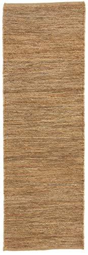 CarpetFine: Kelim Jute Läufer Teppich 80x250 cm Beige - Einfarbig