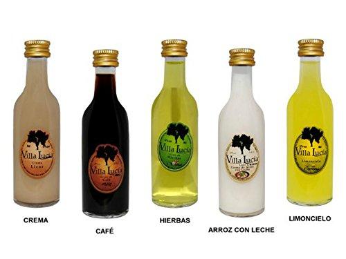 Lote de 25 Botellas de Licores (Surtidos) Sol Villalucía. Detalles de Bodas y Eventos. 12 cm. - 5 cl
