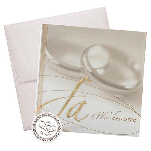 3er-Set Klassische Hochzeitseinladungskarte
