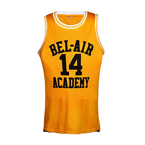 Mens Basketball Jersey Movie Version, 14 Will Smith, Bel-Air Academy, orange Jugend Mesh-Stickerei Retro S-XXXL (Color : Yellow, Size : L)