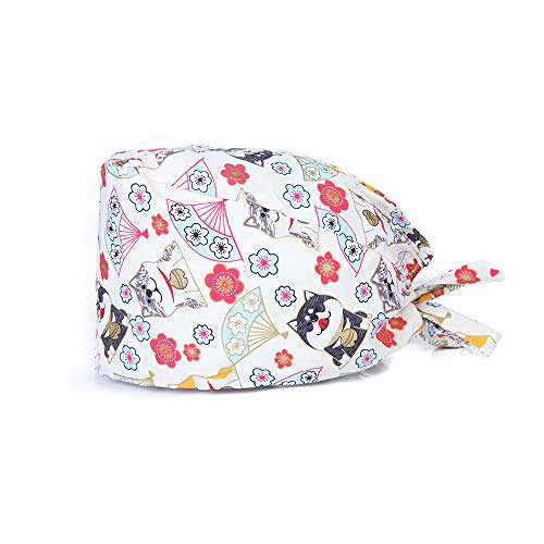 Lace-Up Cap Adjustable Fluffy Head Scarf Work Hat, Women's Printed Hat Sweat Band (Colour E)