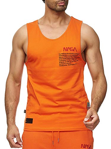 Red Bridge Herren Tank Top T-Shirt NASA Logo USA Ärmellos Baumwolle M1835 Orange XL