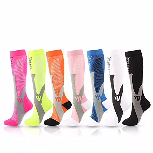 YANI 7 pares de calcetines de compresión, unisex, de compresión graduada, para correr, medicamentos, venas varices, edema, calcetines de compresión graduada, hinchados o dolores, XXL