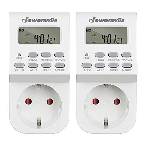 DEWENWILS Digitale Zeitschaltuhr Steckdose, Zeitschaltuhr Digital mit 20 konfigurierbaren Schaltprogramme, LCD Display, für Lampen, Kaffeemaschine, 2 Packs(16A / 3840W)