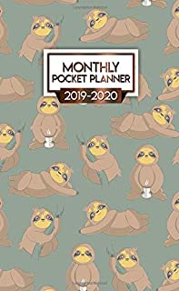 Monthly Pocket Planner 2019-2020: Nifty Coffee Loving Sloth Two-Year Organizer with Phone Book, Password Log and Notebook....