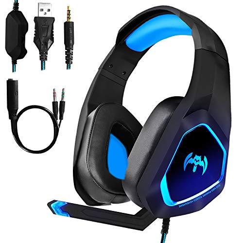 Hangfa - Auriculares para juegos PS4, Xbox One para PC PS Vita, auriculares con aislamiento de ruido con micrófono/luz LED/Bass Surround/Soft Memory Earmuffs de Hangfa