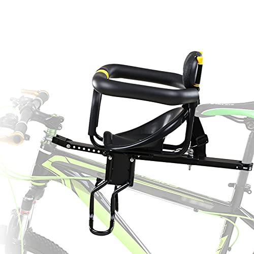 QWET Asiento De Bicicleta para NiñOs, ProteccióN Ambiental Ajustable, Asiento De Bicicleta De MontañA Delantero, Accesorios para Bicicletas, Adecuado para NiñOs De 1 A 7 AñOs,Amarillo