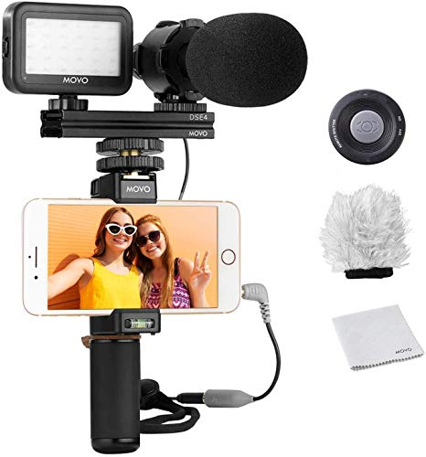 Movo Smartphone Video Rig Kit V7 with Grip Rig, Stereo Microphone, LED Light and Wireless Remote - YouTube, TIK Tok, Vlogging Equipment for iPhone/Android Smartphone Video Kit