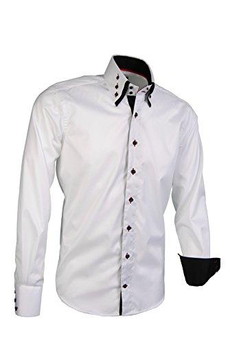 Giorgio Capone Herrenhemd, 100% Baumwolle, weiß, Button-Down Doppelkragen, Langarm, Slim & Regular Fit (S Slim)