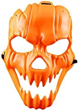 Halloween Pumpkin Mask Costume Weird Smile Plastic Full Face Mask Masquerade Costume Cosplay Dress up Prop for Men Womens Funny Halloween Decorations