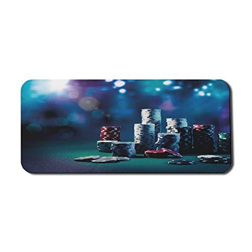 Poker Turnier Computer Mauspad, Spieltisch Poker Chips Dramatische Anzeige Vegas Freizeit Kunstdruck, Rechteck rutschfeste Gummi Mousepad X-Large Spielgröße, mehrfarbig