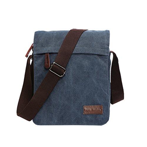 Leinwand Messenger Bag Umhängetasche Laptop Tasche Computer Tasche Umhängetasche aus Segeltuch Tasche Arbeiten Tasche Umhängetasche für Männer & Frauen, Herren, Blue Small