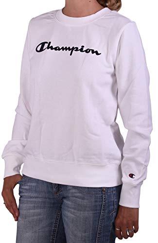 Champion Felpa da Donna Girocollo Garzata Bianca Taglia XL cod 112585-WW001