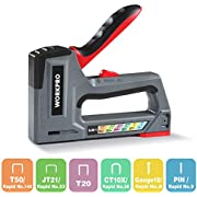 WORKPRO Heavy Duty Staple Gun, 6-in-1, Manual Nail Gun/Brad Nailer, Adjustable Force, Stapler for Upholstery, Material Repair, Decoration, DIY, Furniture, Carpentry(Tool Only)