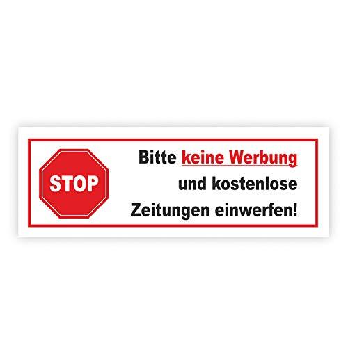 Sticker Stop Gelieve geen reclame en gratis krant in te werpen! I Tegen reclame in brievenbus I weerbestendig, 100 x 35 mm, Rot Weiß Schwarz, 1