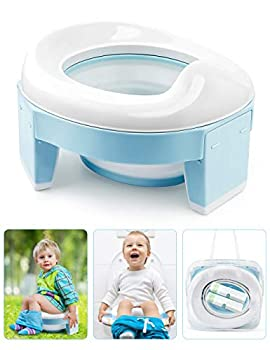 Potty Training Seat for Toddler Kids 3-1 Portable CollapsibleToilet Seat with Storage Bag Anti-Slip Design and Splash Guard Potty Chair for Travel Home Car Camping Use  Blue