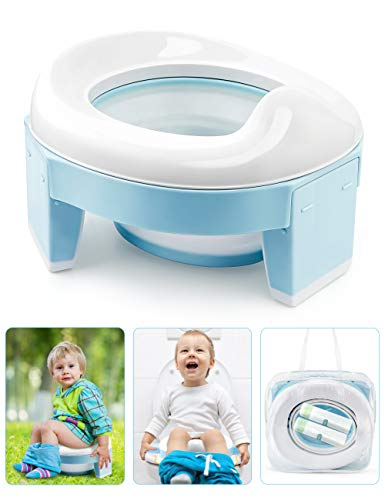 OTTOLIVES Travel Potty Training Seat for Toddler Kids, 3 in 1 Portable Collapsible Toilet Seat with Storage Bag, Anti-Slip Design and Splash Guard, Potty Chair for Travel Home Car Camping Use
