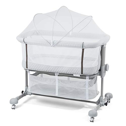 beiens 3in1 Baby Bassinet Baby Crib Bedside Sleeper with Detachable Mosquito Net 6 Height Adjustable Easy Folding Bassinet Portable Nursery Bed for Infant Newborn Baby Boys amp Girls