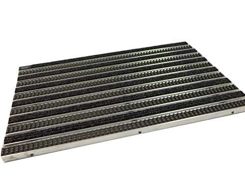 EMCO Eingangsmatte DIPLOMAT 22mm Rips anthrazit + Bürsten grau Fußmatte Schmutzfangmatte Fußabtreter Antirutschmatte, Größe:590 x 390 mm
