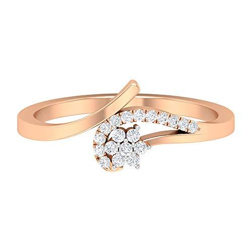 Rosec Jewels - Anillo de boda en espiral, anillo de flor de diamante HI-SI, anillo minimalista de oro, 14K Oro rosa, Size:EU 49