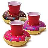 3 teile/satz Modische Reizende Bunte PVC Aufblasbare Donuts Bier Kaffee Fruchtsaft Getränkehalter Sommer Party Pool - Multi Farbe