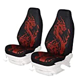 KANGLIDA 2 Piece Auto Seat Protector Bucket Seat Cover Dragon Pattern Car Seat Cushions for Car, SUV, Truck or Van Printed Dragon