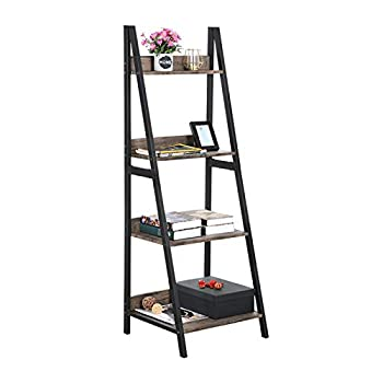 GreenForest Ladder Shelf 4 Tier Bookcase Metal Frame Bookshelf Home Office Storage Rack Shelf Plant Stand Walnut