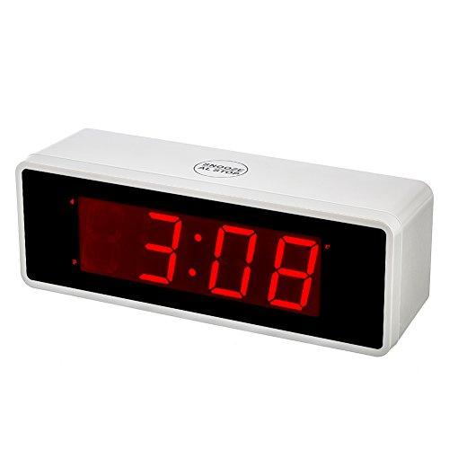 """Kwanwa Portátil Pantalla Alarma Reloj con Números Grandes 1.4\""""LED Rojo Funciona con Pilas Eléctrico Solo, se Puede Utilizar en Cualquier Lugar sin una complicada Cable y # xFF08; Blanco Perla"""