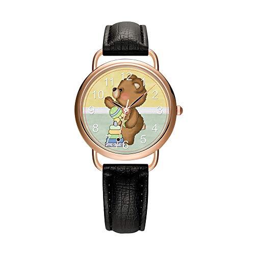 Las mujeres Relojes de la Marca de Lujo de la Moda de las Señoras Reloj Blanco y Negro Correa de Cuero Oro Reloj de Pulsera de Cuarzo Mujer Regalos Reloj Hermoso Bebé Teddy Oso Reloj, Negro