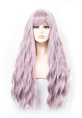 iChicHair Women's Lilac Purple Wig Long Fluffy Curly Wavy Hair Wigs for Girl Synthetic Fashion Cosplay Party Wigs (Lilac Purple)