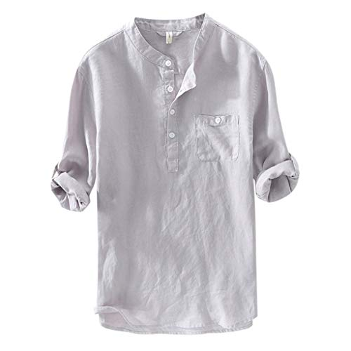 Mens Linen Shirt Polo Shirts Long Sleeve Casual Button Solid Muscle Tee T-Shirt Tops Blouse Pullover Jumper Sweatshirts Gray