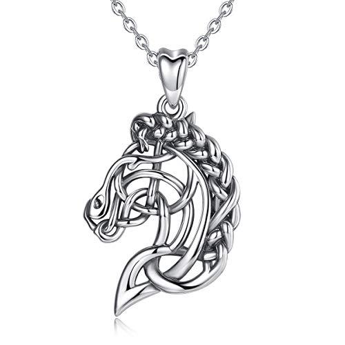 CELESTIA Pferde Halsketten für Damen Mädchen, Oxidierte 925 Sterling Silber Pferde Anhänger mit Kette, Geschenke für Liebhaber des Reiter, Tier Schmuck