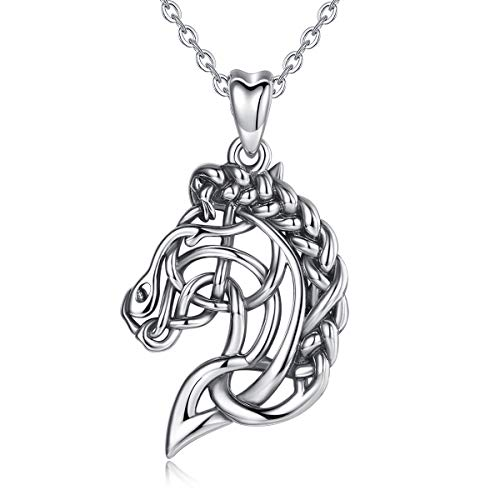 CELESTIA Celtic Horse Head Necklace for Women Sterling Silver Pendant Jewelry Horse Gifts for Girls - 18 Inch Chain