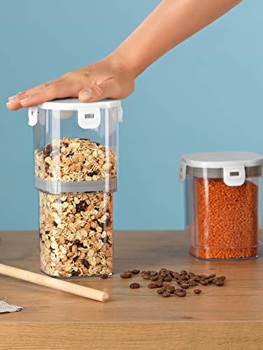 GOURMETmaxx verstellbare Vakuum-Lebensmittelbehälter, 3-teiliges Set, 1000 ml, Weiß