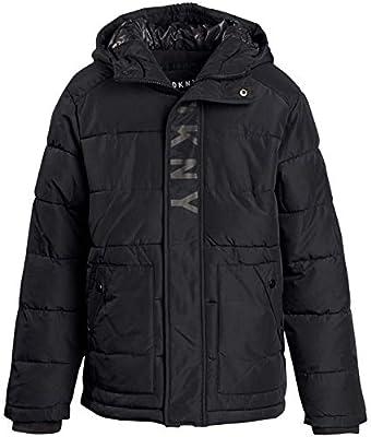 DKNY Boys' Heavyweight Polar Fleeced Lined Puffer Bubble Jacket with Hood (Pure Black, Small/8)