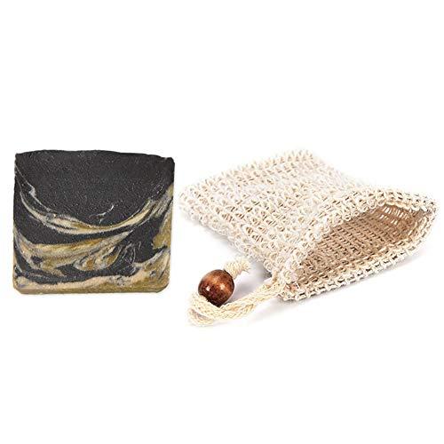 Mijo BLACK GOAT schwarze Seife mit Ziegenmilch handgemachte Naturseife mit Bio Olivenöl ohne Palmöl + Säckchen ca. 100g