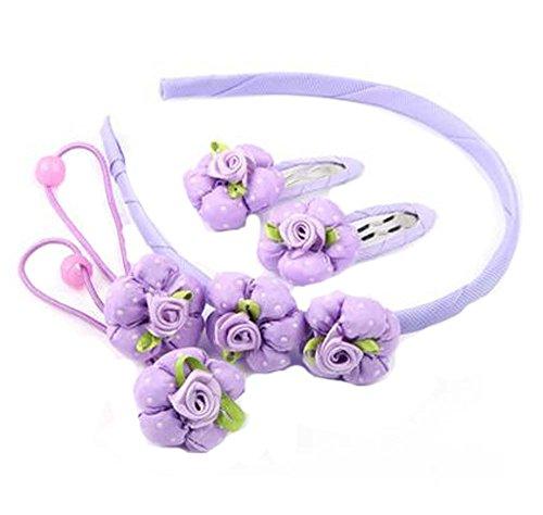 Ensemble de 5 bandes de cheveux pour enfants Beautiful Hairpins and Hair Circle, Violet