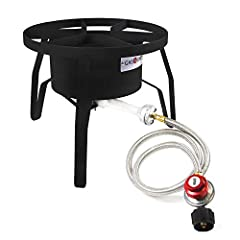 High output - exerting up to 65, 000 BTU, gas one's high pressure Single burner cooks, boils, and grills rather quickly. A great addition for those looking to power there Tailgating, camping, or even the occasional family meet-up HEAT ADJUSTABLE – co...