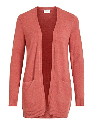 VILA CLOTHES Damen VIRIL L/S OPEN KNIT CARDIGAN-NOOS Strickjacke, Dusty Cedar/Detail:MELANGE, L