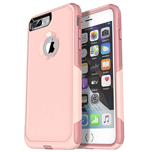 Krichit Pioneer Series Compatible with iPhone 8 Plus case/iPhone 7 Plus case Dual Layer Design,Military Grade Drop Protection Protection Case, Pioneer Series Phone Case (Pink Salt/Blush)