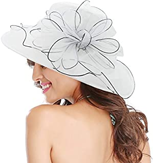 Womens Ladies Organza Church Wide Brim Tea Party Wedding Hat Fancy Kentucky Derby Fascinator Cap