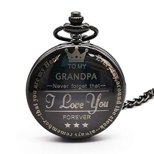 Vintage To My Grandpa Reloj de Bolsillo de Cuarzo TE Amo para Siempre Collar Grabado Reloj de Cadena Relojes Regalo de cumpleaños del Abuelo blackrosered