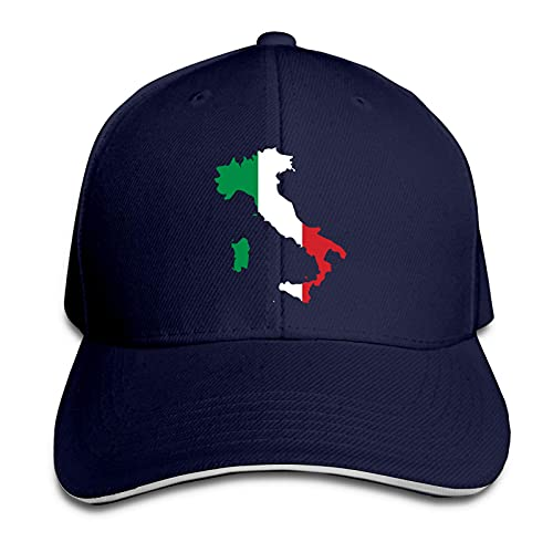 XCNGG Gorra para Hombres y Mujeres, Italia Italia Mapa Italiano Gorra sándwich de Pico Ajustable Casquette Sombrero de Vaquero