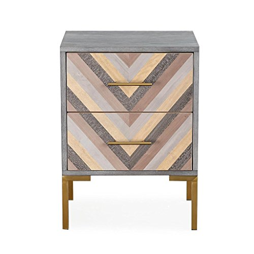 TOV Furniture The Quinn Collection Modern Wood Side Table With Storage & Stainless Steel Legs, Gray