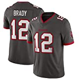 # 12 Tampa Bay Buccaneers Maillot de Football américain Tom Brady, Maillot de Rugby Coton Respirant Sportswear T-Shirt de Football Vêtements d'entraînement-Grey