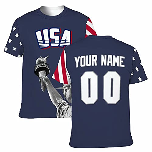 Custom USA Shirts America T-Shirt Personalized Name and Number Uniforms for Men/Women/Youths Gift Blue