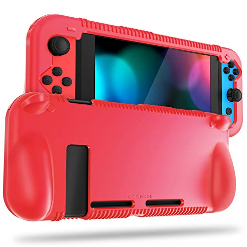 FINTIE Silicone Case Compatible with Nintendo Switch - Soft [Anti-Slip] [Shock Proof] Protective Cover with Ergonomic Grip Design, Drop Protection Grip Case (Red)