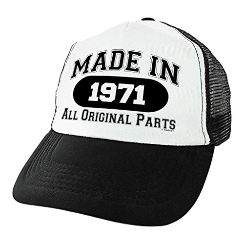 50th Birthday Gifts for All Made in 1971 All Original Parts Turning 50 Birthday Party Trucker Hat Black